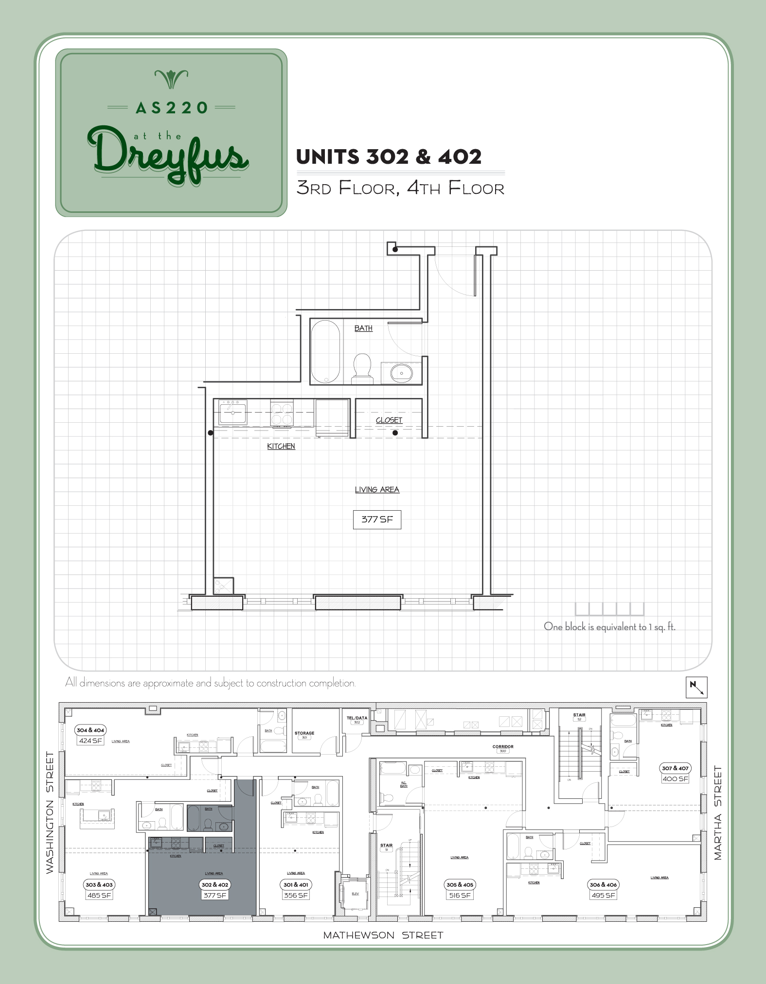 Dreyfus Floor Plan for Residential Studios 302 and 402
