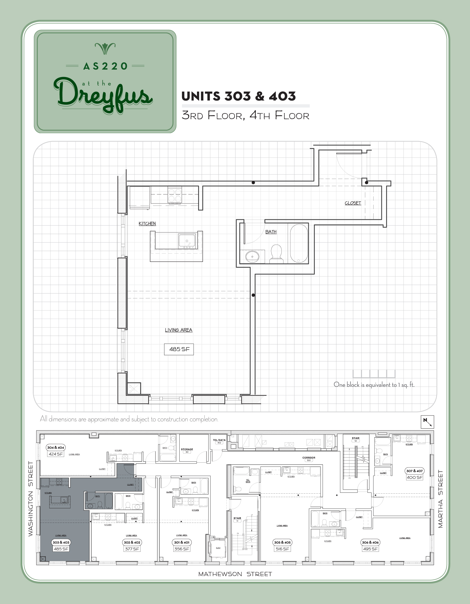 Dreyfus Floor Plan for Residential Studios 303 and 403