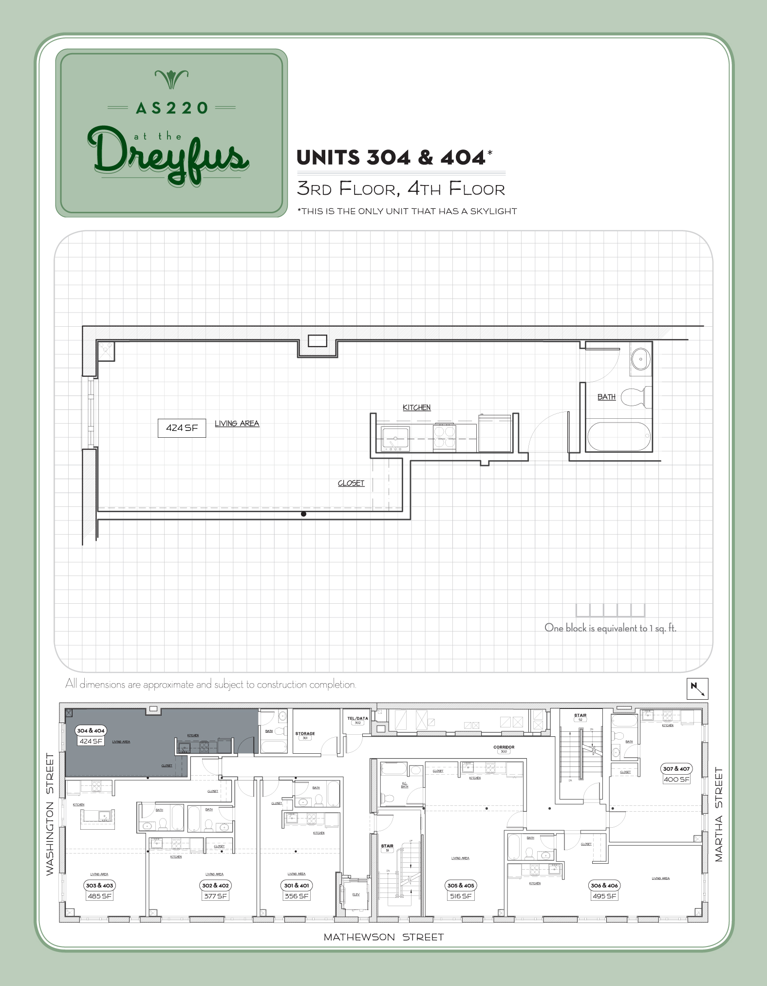 Dreyfus Floor Plan for Residential Studios 304 and 404