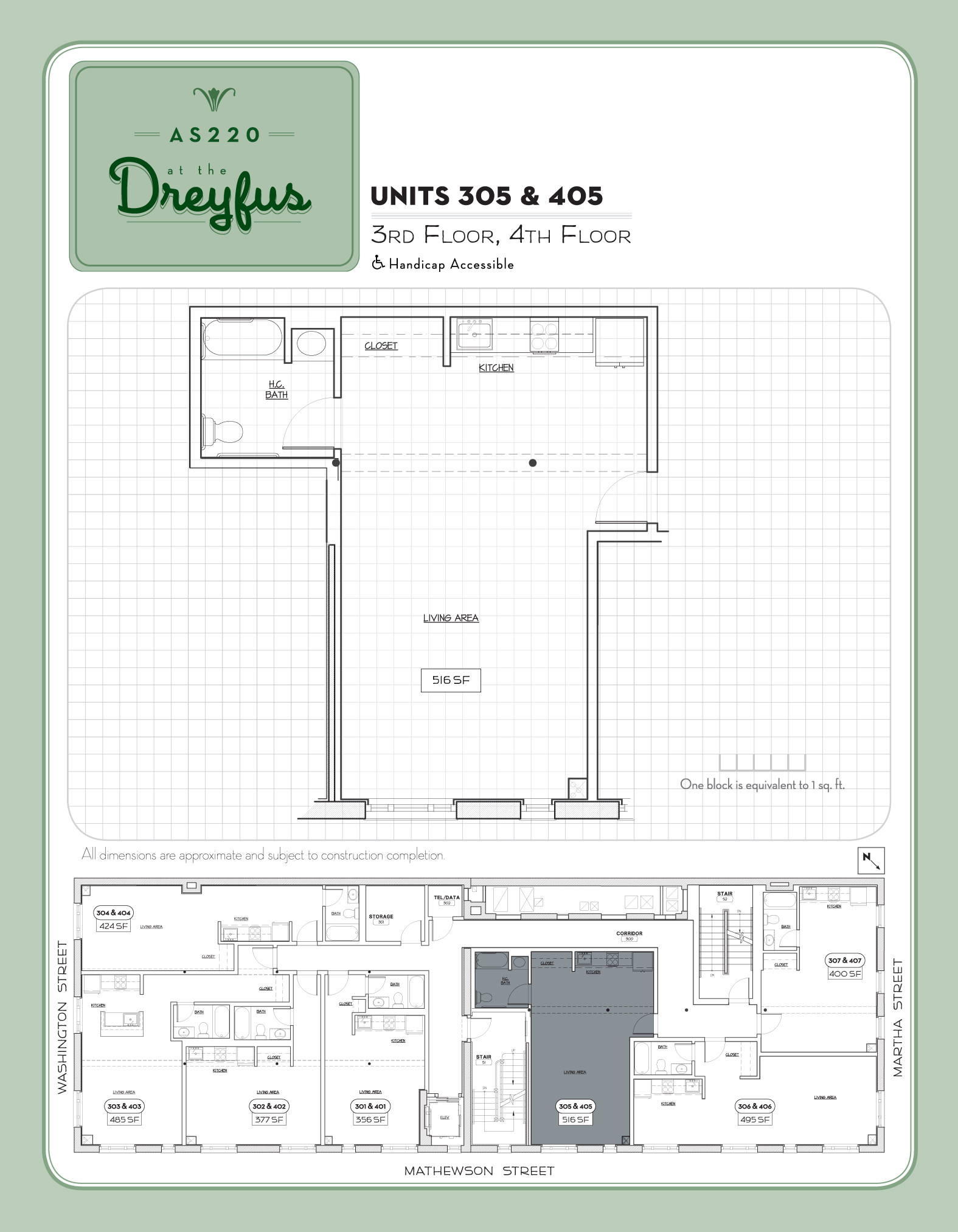 Dreyfus Floor Plan for Residential Studios 305 and 405
