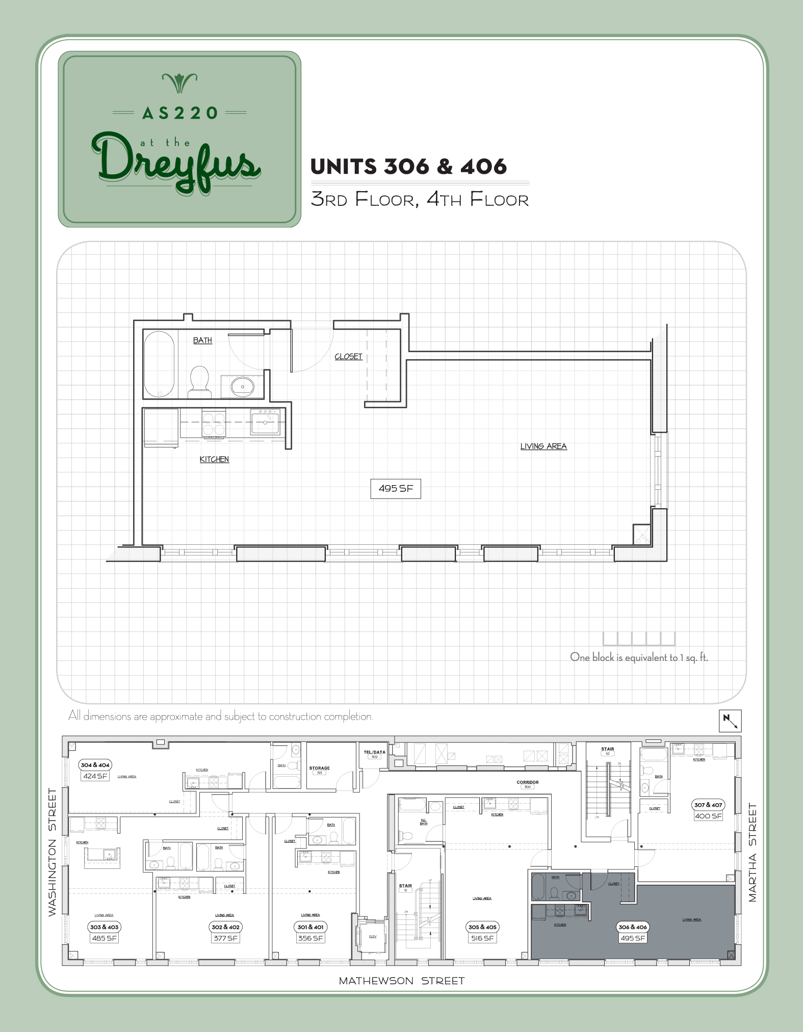 Dreyfus Floor Plan for Residential Studios 306 and 406