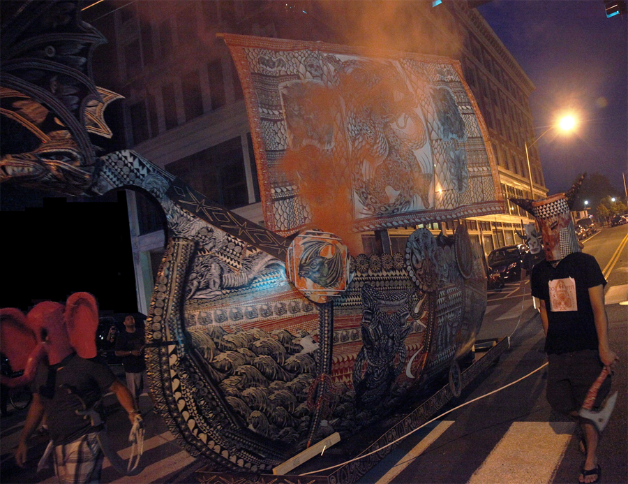 Photo of masked parade and wooden Viking Ship by Dennis McNett and AS220 Industries during Foo Fest 2012