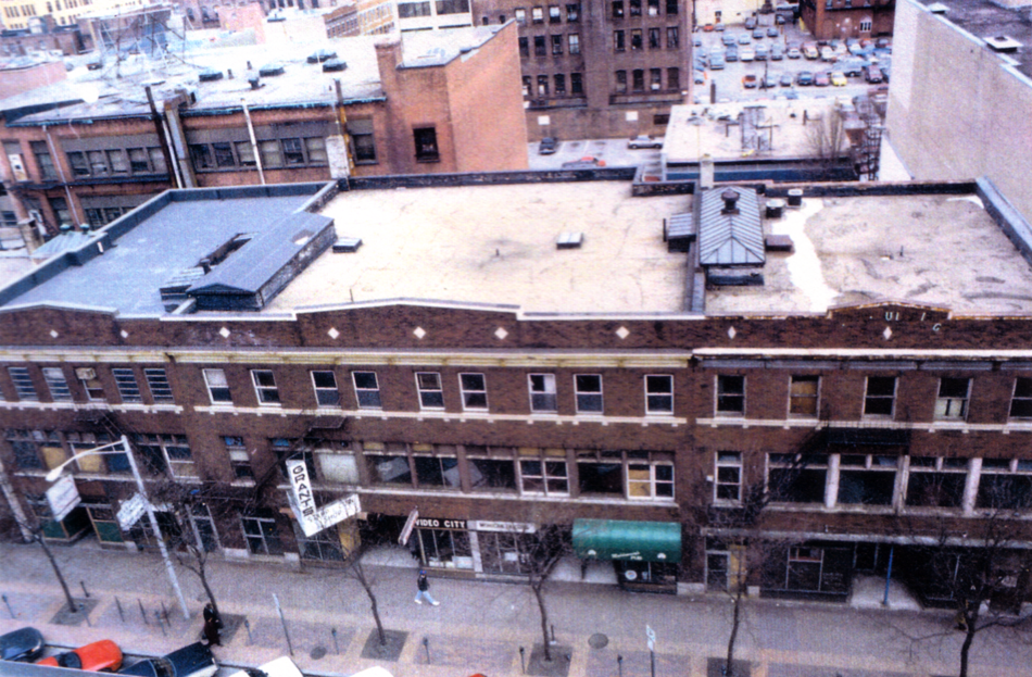 Photo of Empire Street at acquisition and Providence's blighted downtown