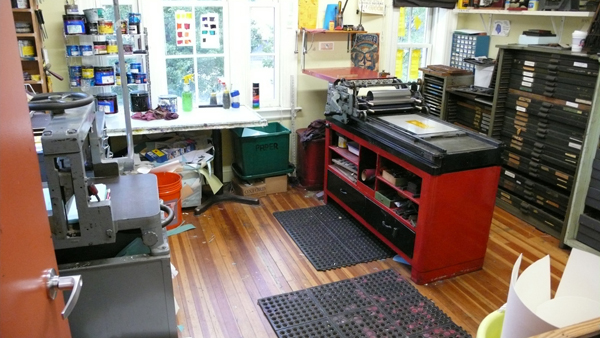 Photo of the letterpress room at the Dreyfus Printshop