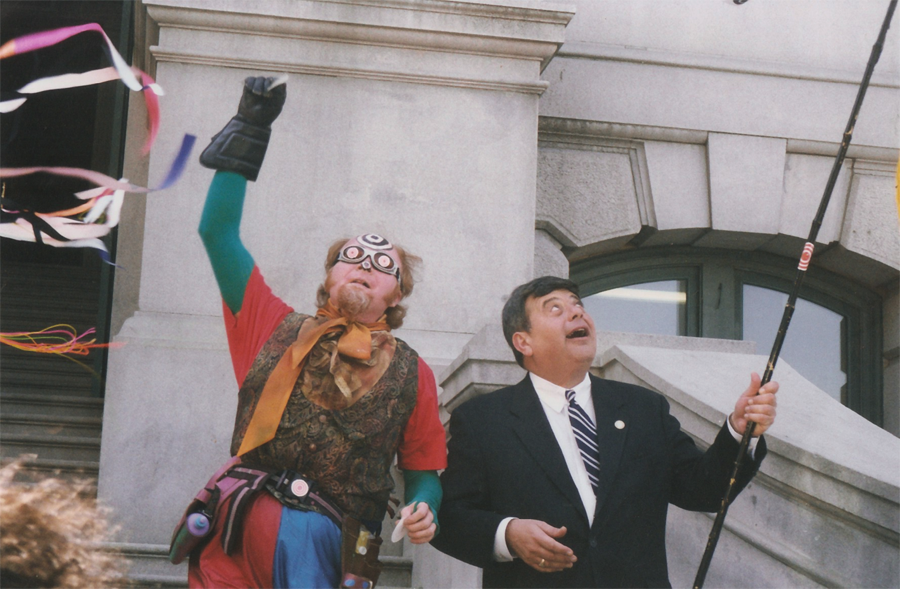 Photo of the Fool and former mayor Buddy Cianci outside Providence City Hall