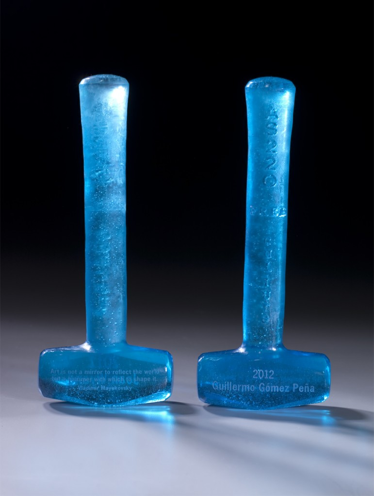 Photo of Free Culture Awards for 2012, blue glass hammers