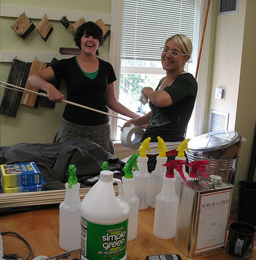 Photo of Printshop Manager Emeritus Morgan Calderini and Keymember Meg Turner setting up the Dreyfus Printshop