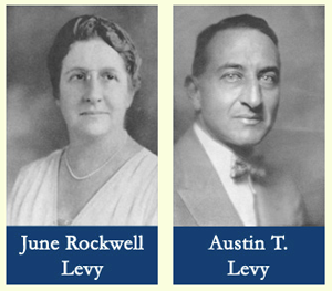Photos of June Rockwell and Austin T Levy whose legacy lives on in the Levy Foundation