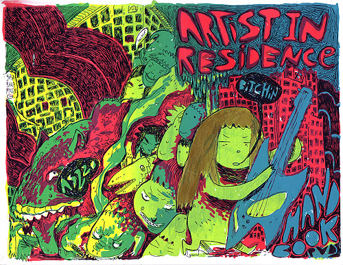 Screenprint by Mickey Zacchilli that says artist in residence