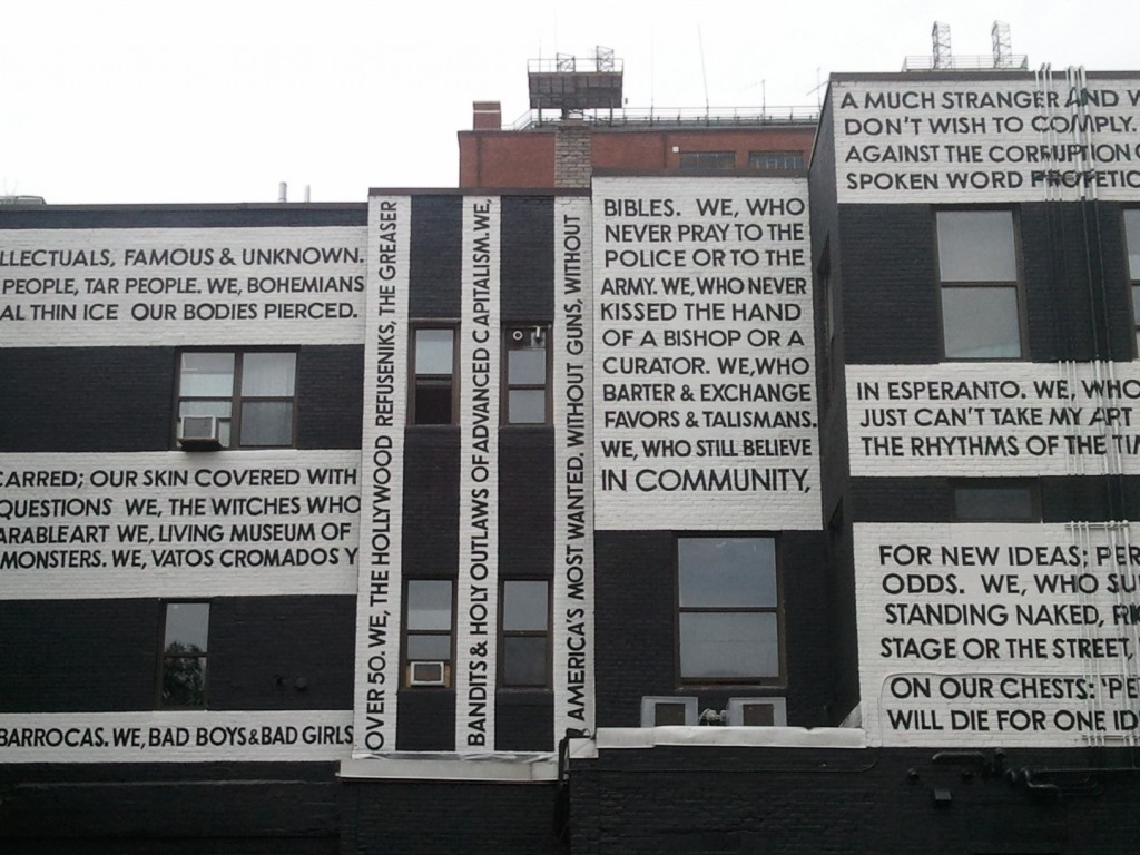 """Guillermo Gómez Peña Mural - Free Culture 2012 - Fragment of the text """"The New Barbarians: To the Lords Of Censorship"""""""
