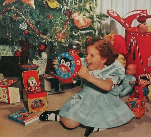 Vintage image of young girl opening gifts