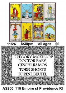 Gregory McKillop, Ceschi, Doctor Baby, Torn Shorts, and Forest Beutel @ AS220 | Providence | Rhode Island | United States