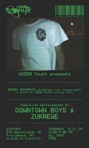 AS220 Youth / Broken Monuments LAUNCH PARTY with Downtown Boys and ZuKrewe @ Aurora Providence | Providence | Rhode Island | United States