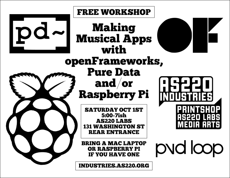 PVDLoop Fest Workshop - Making Musical Apps with openFrameworks, Pure Data and/or Raspberry Pi