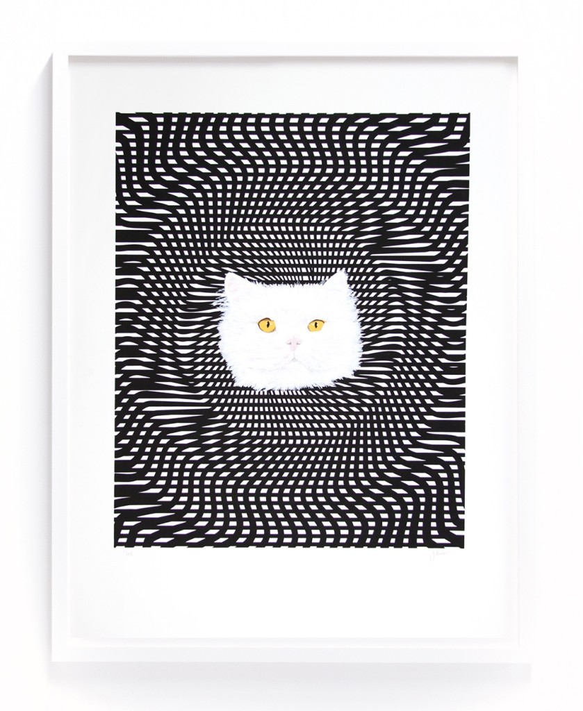 """Op-art Kitty"", Jenny Booth, Screenprint on paper, Edition of 25, 23"" x 30"", 2016"