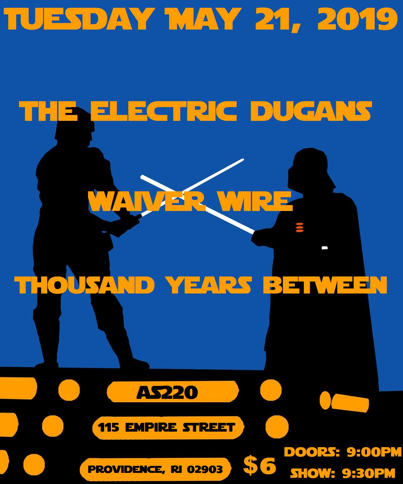 The Electric Dugans, Waiver Wire, and Thousand Years Between @ AS220 Main Stage