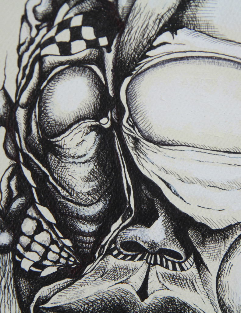 "Umberto Crenca - ""Big Eye"", Ball Point Pen and Marker, 6.5""x8.5"" (Detail 01)"