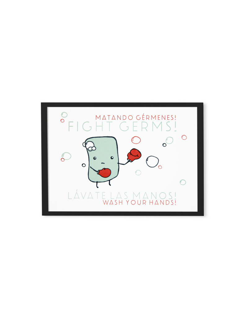 "Ryan Dean - Fight Germs! Matando Germenes!, Letterpress,  5""x7"",  2018"