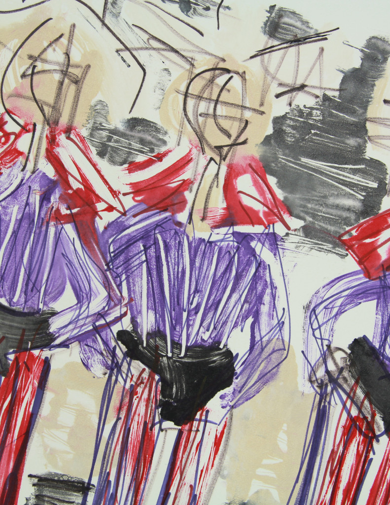 "Janet Van Horne - Theater Performers, Mixed Media, Mono-Print, 2010, 22""x30"" (Detail 01)"