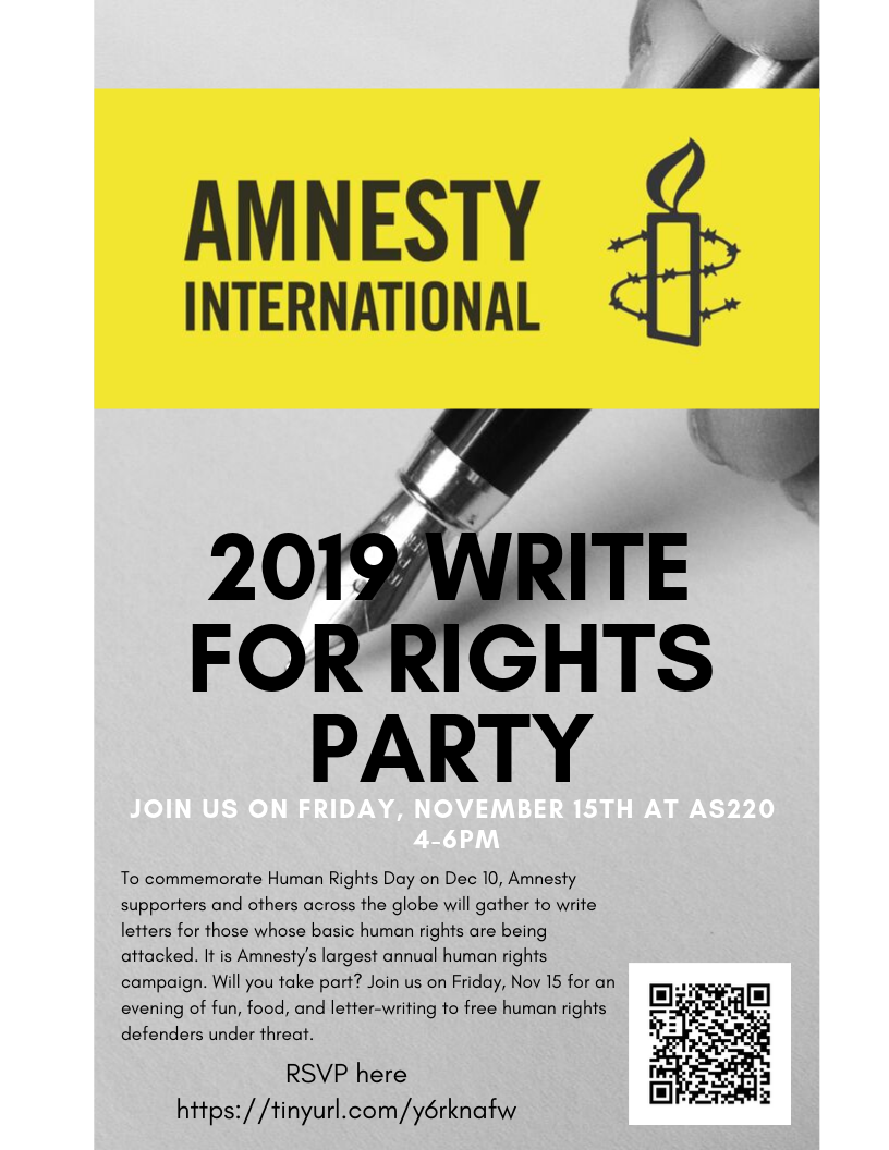 Amnesty International 2019 Write For Rights Party @ AS220 Main Stage
