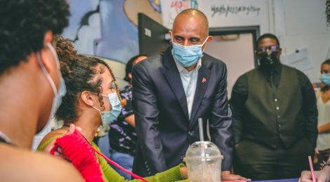 Elorza and Goncalves visit AS220 Youth